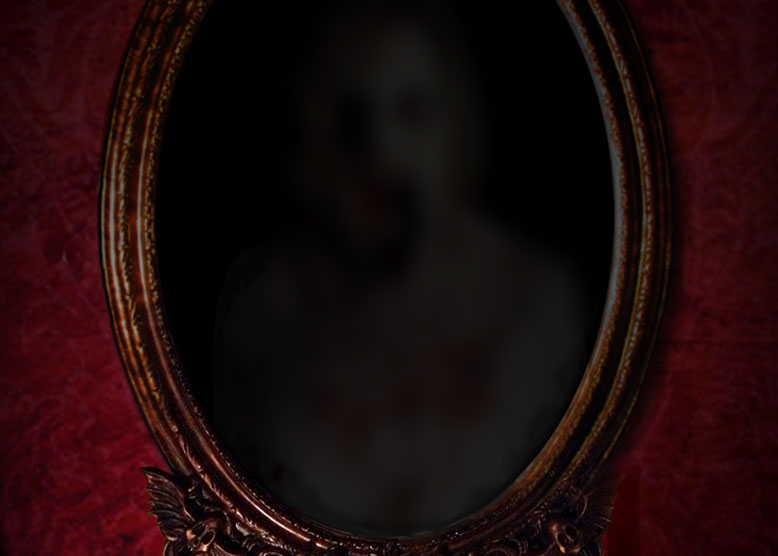 Beautiful gothic mirror with 2-way mirror panel to adorn your haunted house