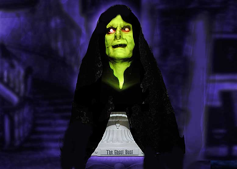 This animatronic witch Halloween bust gives high-tech haunted house fans a thrill with its Seance routine.