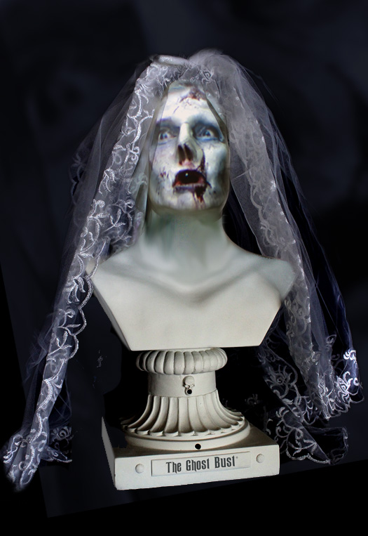 Creepy talking Halloween bust in the guise of a zombie ghost bride.