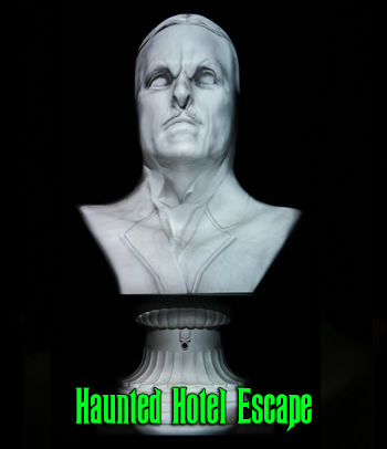 This talking Halloween bust can deliver custom escape room audio (clues, rules, objectives) in a thrilling way.