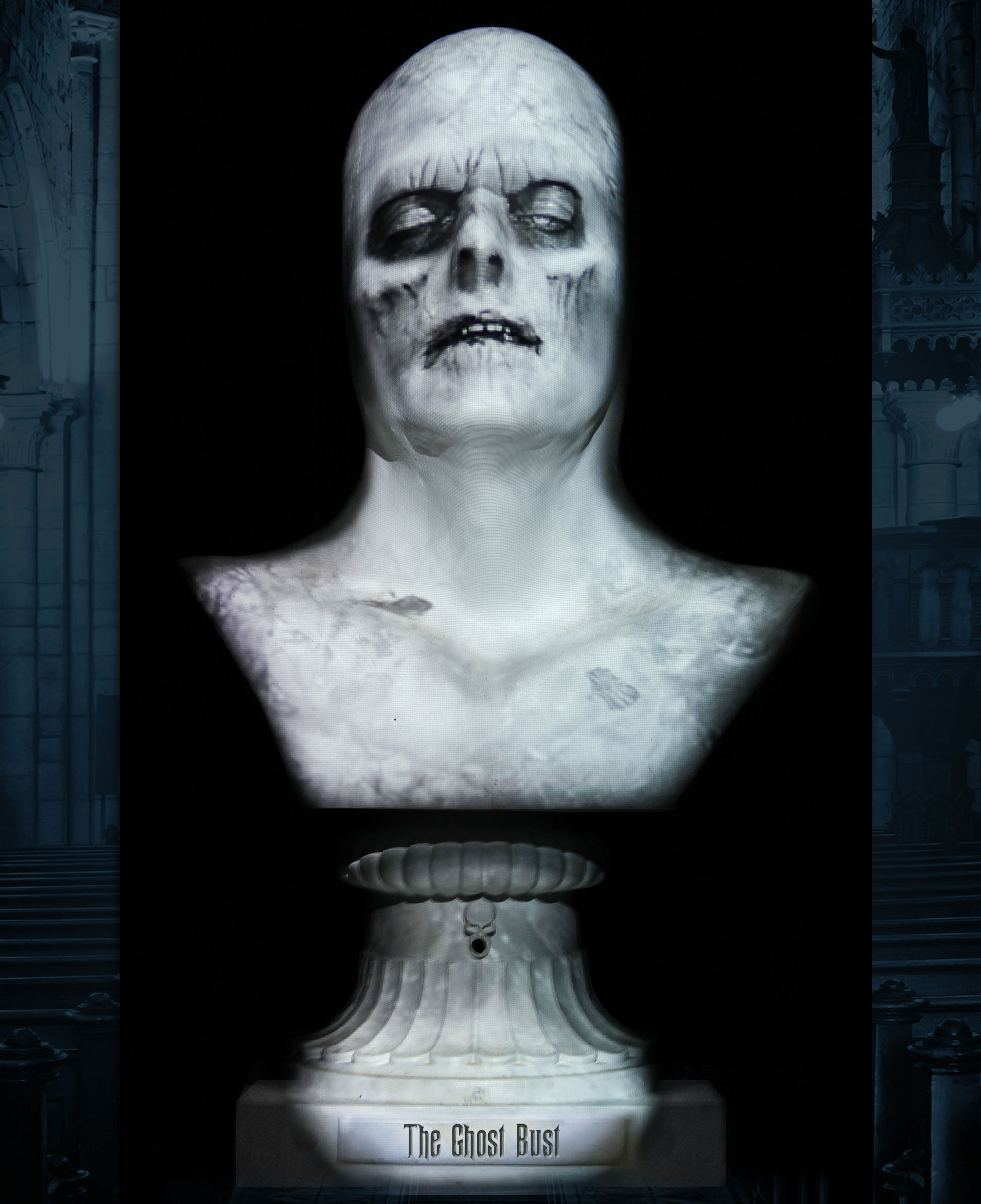 This spooky talking Halloween bust is a zombie ghost bride.